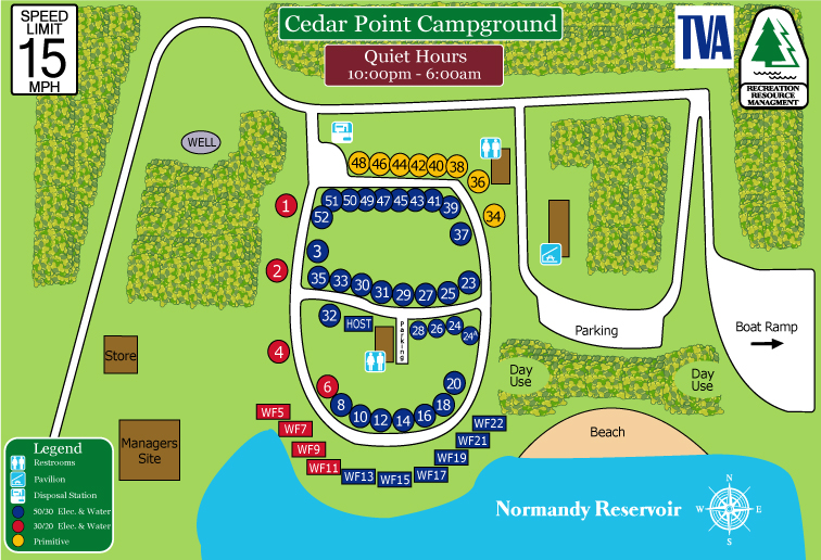 Camping In Tennessee Map.Cedar Point Campground Recreation Resource Management
